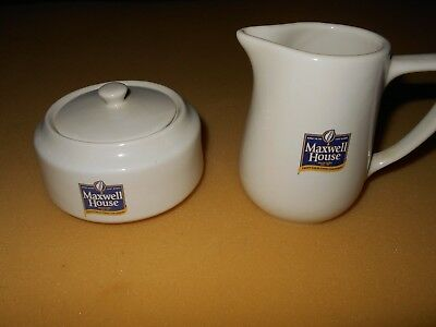 Maxwell House creamer and sugar bowl with lid