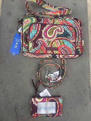 vera bradley Heirloom Paisley Lot Of 3 Lanyard,ID Case & Little Hipster NWT F/S