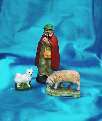 Vintage Putz Shepherd man Sheep Samoyed Spitz herding dog  Germany Xmas scene*