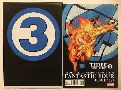 FANTASTIC FOUR #587 Sealed Polybag & Quesada Variant, Marvel (2011) Death Torch