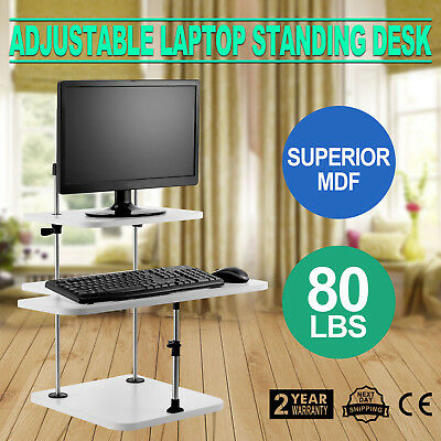 3 Tier Adjustable Computer Standing Desk Workstation Double Poles Mobile Tray