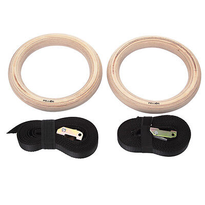 Pellor Wooden Olympic Gymnastic Rings Gym Sports Exercise Ring Fitness Max 25KG