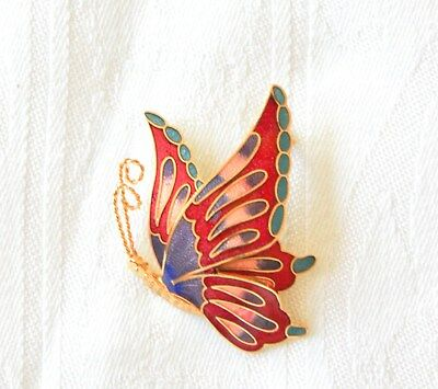 Vintage Gold Tone Metal and Enamel Butterfly Pin Brooch