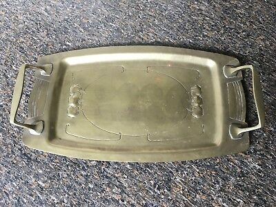 Antique Repousse Art Nouveau Hand Made Carved Art Craft Brass Serving Cake Tray