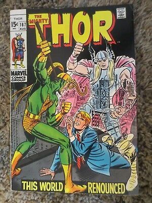 the mighty thor #167 (aug 1969 marvel) silver age romita cover F+