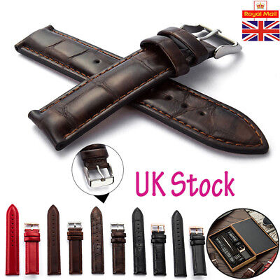 UK Mens Ladies Genuine Leather Watch Band Strap Replacement Strap Belt 14mm-20mm