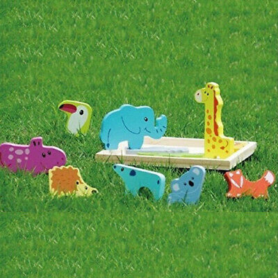 Wooden Animal Jigsaw Puzzle Game Learning Preschool Gift Children Kid Zoo Baby