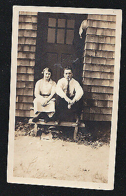 Antique Vintage Photograph Woman Sitting With Man Smoking Cigar on Steps