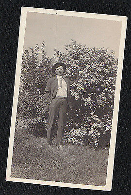 Antique Vintage Photograph Man in Hat Smoking Cigar in the Garden