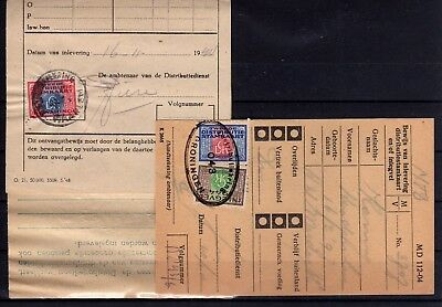 Netherlands WWII 3 diff. distribution stamps on complete docs.