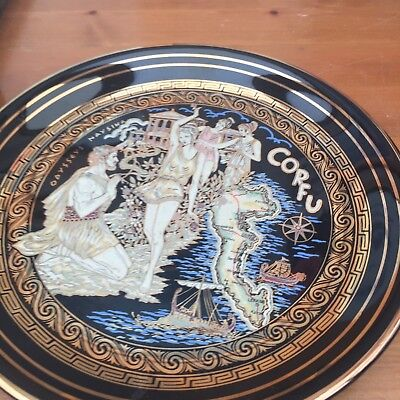Vintage hand made 24ct Gold plate pottery plate X2