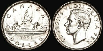 Canada: 1951 King George VI Voyageur/ Canoe Silver $1