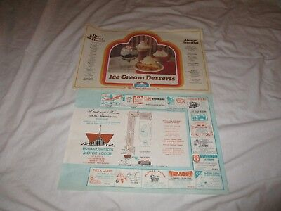 Vintage 70s Placemat & Dessert Menu from Howard Johnson's Motor Lodge Carlise PA