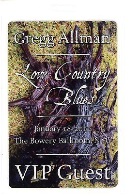 Gregg  Allman Band 1/18/2011 Low Country Blues Tour Laminate Backstage Pass VIP