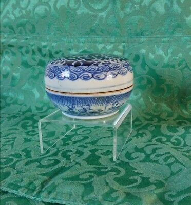 Antique Chinese Porcelain 18th Century Blue and White Makeup Box
