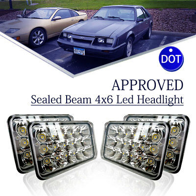 "For Kenworth T800 T400 T600 W900B 4pcs 4x6"" Led Projector Sealed Beam Headlights"