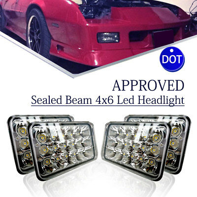 "For Kenworth T800 T400 T600 W900B 4pcs 4x6"" Projector Sealed Beam Led Headlights"