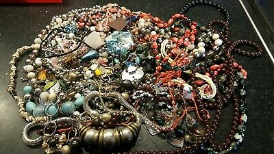 Job lot of costume jewellery vintage and modern ideal for jewellery making