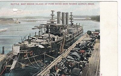 USS Rhode Island, Battleship,Vintage Postcard,at Fore River Shipyard,Quincy,1915
