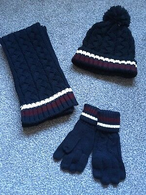 BNWT Boys Navy Knitted Hat, Scarf & Gloves 7-10 years