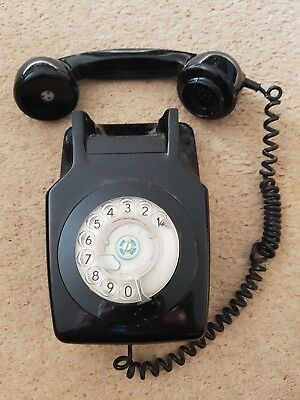 Vintage GPO Wall Telephone Black Rotary dial-BT- 741 FBR 77/1