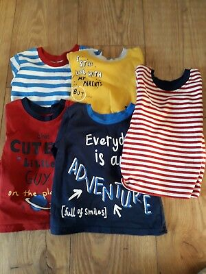pack of 5 baby boys cotton long sleeved tops size 6-9 months