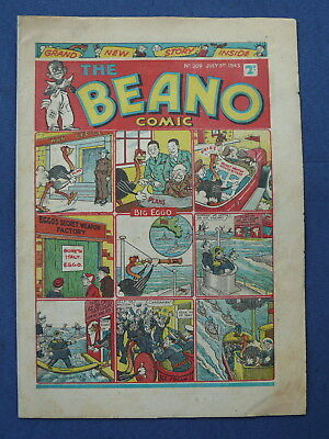 Beano Comic No.209  VG+ July 3rd 1943 War Issue  U Boat  Waste Paper