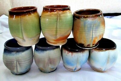 Lot Of 7 Coffee Mugs Vase Hand Made Wheel Thrown Art Pottery Cups Signed Marked