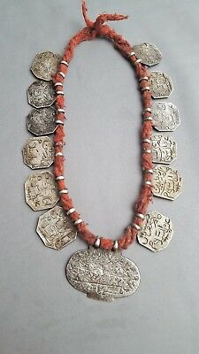 Antique Islamic Indo Persian Mughul Solid Silver Aumlet Necklace Circa 1800's