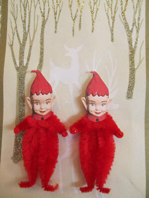 RED PIXIE ELF Vintage Style Chenille Christmas Ornaments - Set of 3
