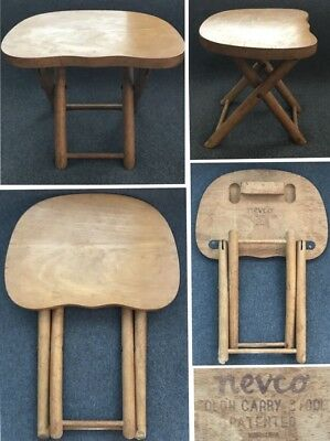 Vintage NEVCO FOLD'N CARRY FOLDING WOOD CHILD's FISHING HUNTING STOOL CHAIR