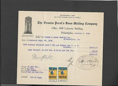 U.s. Francis Perot's Sons Malting Co. Bill Receipt W/ 2 Anti-Prohibition Stamps