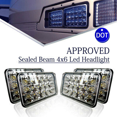 4pcs DOT Approved Square 4x6 LED Headlights Bulb for Cadillac Cimarron 1982-1985