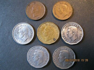 Canada George Vi Coins, 1941 & 1950 Cents; 1942, 1943, 1945(2), 1949 Nickels