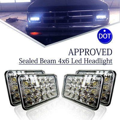 "For Kenworth T800 T400 T600 W900B 4pcs 4x6"" Led Sealed Beam Projector Headlights"