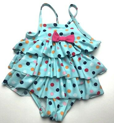 Small Infant Baby Girl Blue Ruffled Polka Dot One Piece Swimsuit 0-6M Month EUC