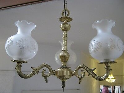 ANTIQUE FRENCH ORNATE VINTAGE BRASS 3 ARM CHANDELIER with ETCHED GLASS SHADES