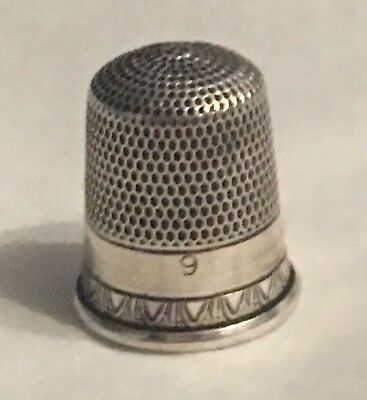 Vintage Sterling Silver Thimble~Size 9~Hallmarked~Usa