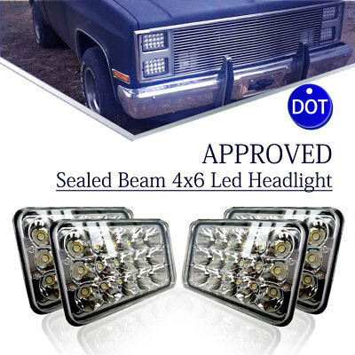 "For Kenworth T800 T400 T600 4pcs 4x6"" Led Projector Sealed Beam Headlights"