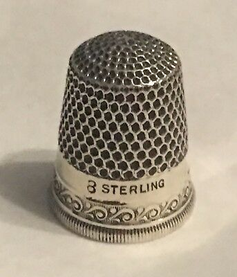 Vintage Sterling Silver Thimble~Size 8~Hallmarked~Waves~Scrolly