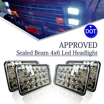 "For Kenworth T800 T400 T600 4pcs 4x6"" Led Sealed Beam Projector Headlights"