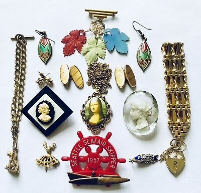 Antique &vintage Collection Of Various Brooches Bracelets Earrings Cufflinks Etc