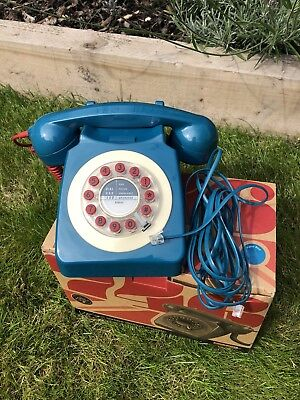 Wild & Wolf Retro Vintage 1960's Corded Phone Petrol Blue
