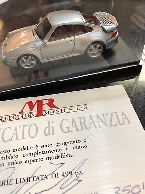 Porsche 993 turbo 1/43 model resin Silver MR Models Italy sold out, nib