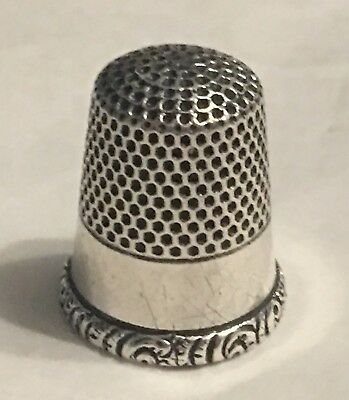 VINTAGE KETCHAM & McDOUGALL STERLING SILVER THIMBLE~SCROLLY DESIGN