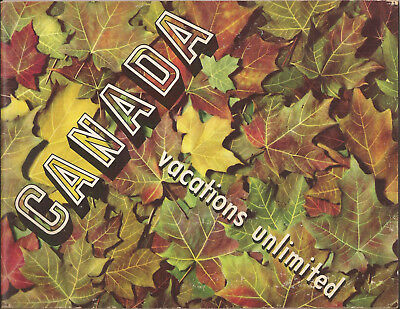 1955 Canada Vacations Unlimited W/ Many Colour Illustrations Travel Brochure