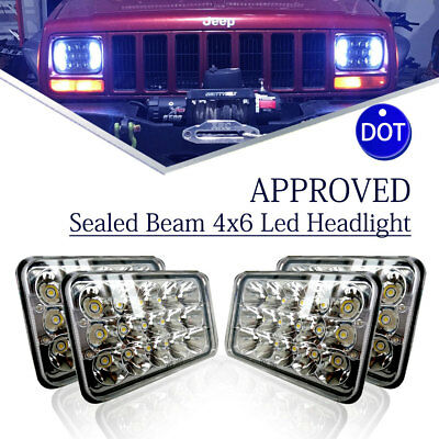 "4pcs DOT Approved 4x6"" LED Headlights Bulb Sealed Beam for Kenworth Peterbilt"