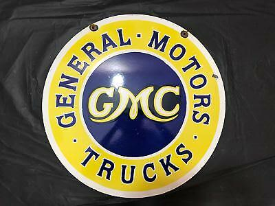 Gmc Porcelain Enamel Sign 24 Inches Round Double Sided