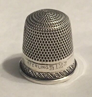 Vintage Hallmarked Sterling Silver Thimble~Scrolly Design~Size 12