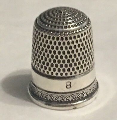 Vintage Sterling Silver Thimble~Shell Design~Size 8
